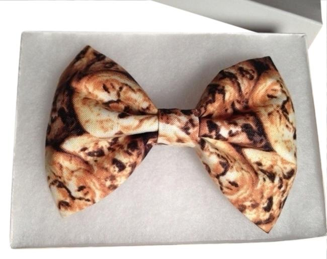 """Item - Brown Black 5"""" Chocolate Chips Cookies Fabric Bow Barrette Clip Bowtie Hair Accessory"""