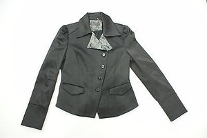 Robert Graham Robert Graham Black Satin Asymmetrical Jacket Style Wf12-507