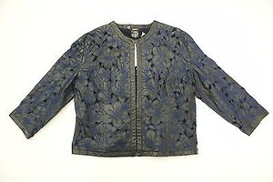 Grayse Leather Laser Cut Blue Floral Embroidery Black Jacket