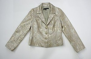 Carmen Marc Valvo Carmen Marc Valvo Collection Gold Print Metallic Jacket