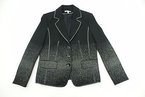 Basler Basler Black Wool Jacket Leather Trim Speckle Pattern Or