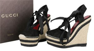 Gucci Wedge Espadrille Suede Black Brown Platforms