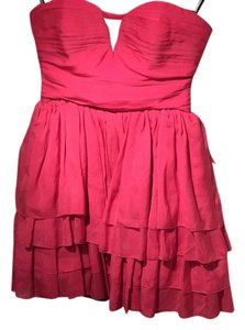 BCBGMAXAZRIA Mini Strapless Tiered Silk Dress