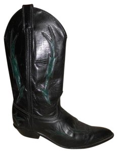 Code West Leather Western black & green Boots