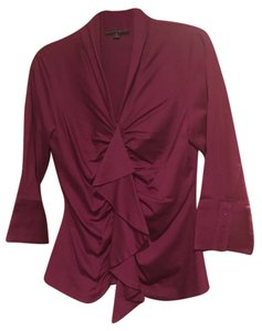 Antonio Melani Button-up Ruffles Top Fuchsia