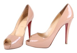 Christian Louboutin Black Patent Leather Stiletto Nude Pumps