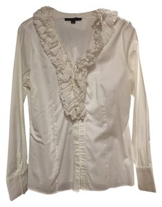 Antonio Melani Button-up Ruffles Suiting Top White