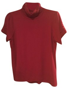 Antonio Melani Wool Short Sleeve Cowl Top Red