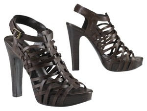 Ralph Lauren Leather New Platform Dark Brown Sandals