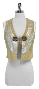 Tory Burch Tan Silver Metallic Suede Vest