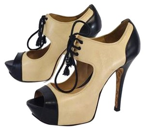 L.A.M.B. Cream Black Leather Peep Toe Heels Sandals