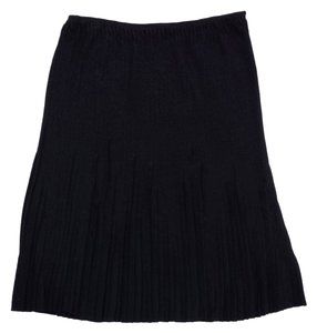 Gucci Black Pleated Silk Skirt