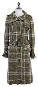 Burberry Taupe Cream Plaid Wool Coat
