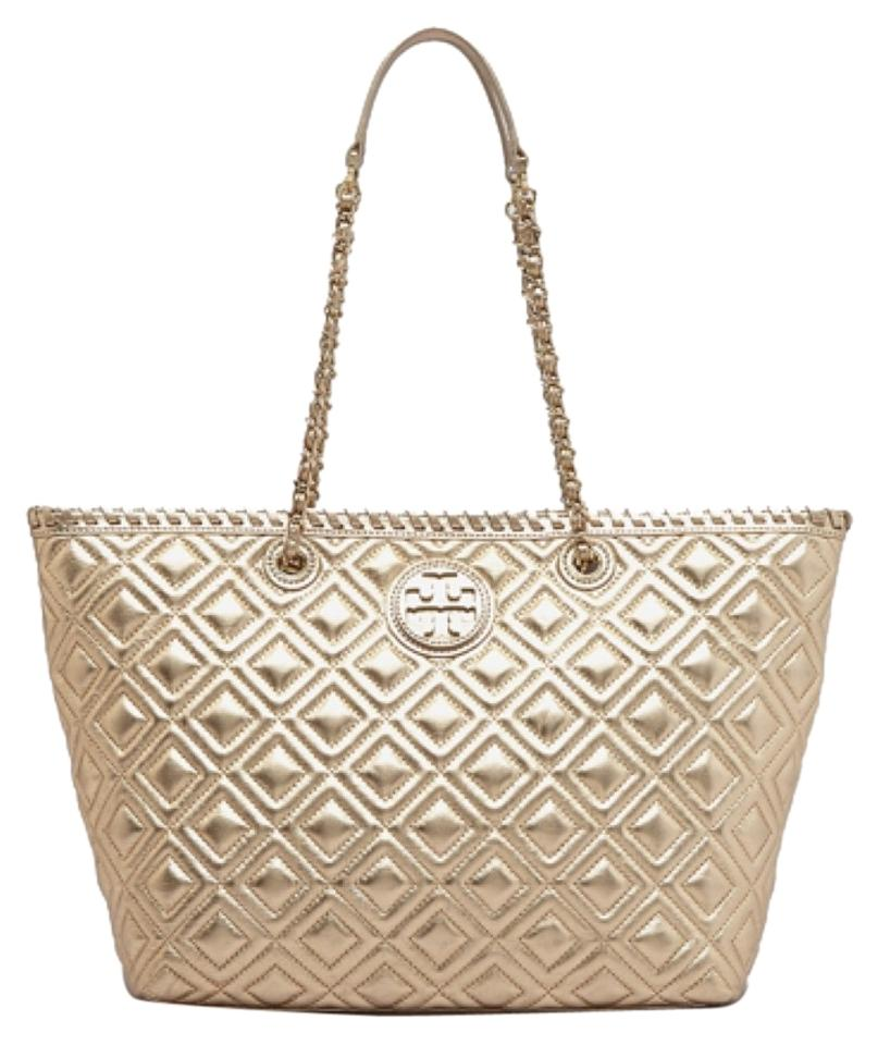 Tory Burch Marion Quilted Metallic Small Ew Gold Leather Tote Tradesy