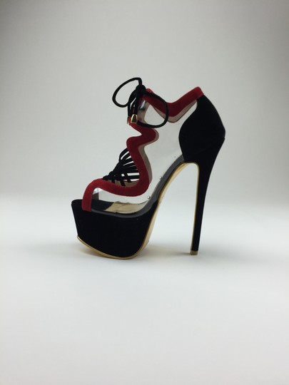 Other Heels Open Toe Clear Red, Black Pumps