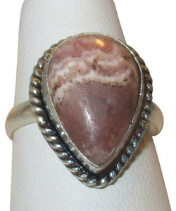 Sterling Silver Pear Cut Genuine Jasper Sandy Red Size 8