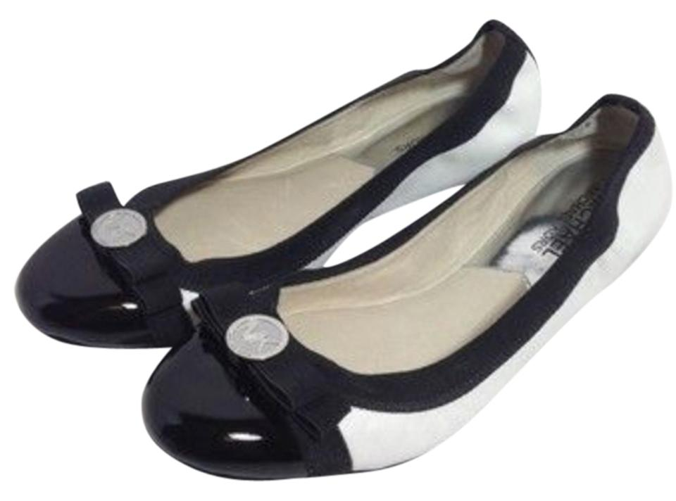 042872fc0b3 Michael Kors Black White New Dixie with Bow Ballet Flats Size US 8 ...
