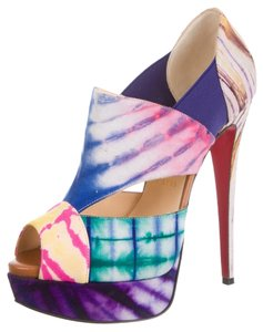 Christian Louboutin Leather Canvas Print Embellished Textured Cut-out Stiletto Ankle Sandal Platform Hidden Platform Bootie 37 7 New Purple, White, Multicolor Pumps