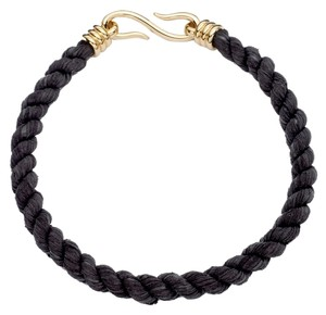 Giles & Brother Gile & Brother Black Twisted Leather Rope Necklace
