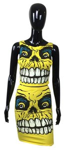 Other Black White Blue Top Crop Top Two Piece Monster Pencil Skirt Yellow