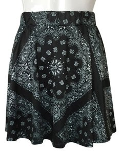 Black Paisley Skirt black, white
