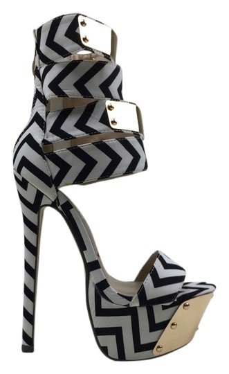 Other Gold Open Toe black, white Platforms