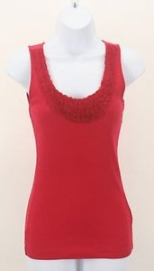 Tommy Hilfiger Red Rose Applique Trimmed Collar Ribbed B323 Top