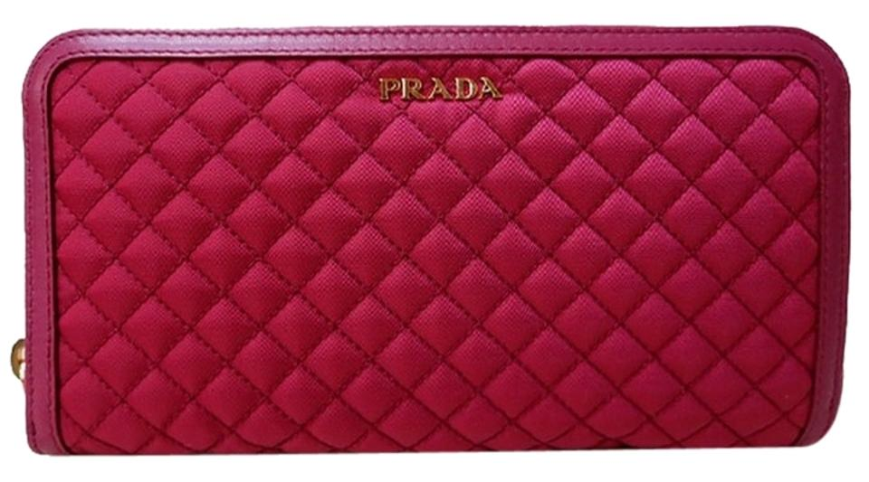 722194d8b17c41 Prada Pink In Stitched Quilted Pattern Ibisco Leather and Nylon Wallet
