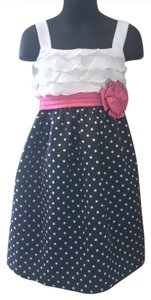 Ashley Ann short dress black with white polka dots white ruffles and a pink bow Girls Summer on Tradesy