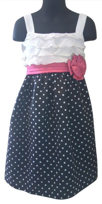 Ashley Ann short dress black with white polka dots white ruffles and a pink bow Girls Summer Dot on Tradesy
