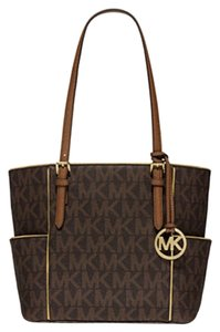 Michael Kors Jet Set Item East West Snap Pocket Jet Set Travel Tote in Brown