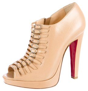 Christian Louboutin Tan Nude Leather Peep Toe Chunky Stiletto Platform Hidden Platform Strappy Gold Gold Hardware Ankle Ankle Strap 37 7 Beige Boots