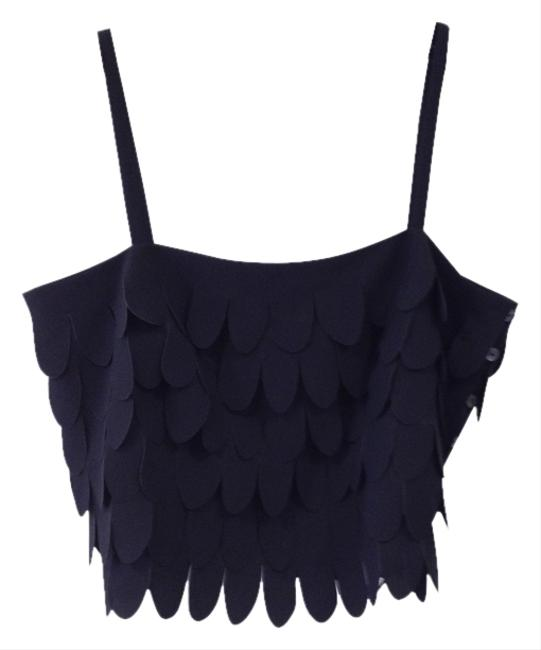 Preload https://item3.tradesy.com/images/bold-black-fringe-waterfall-crop-night-out-top-size-8-m-1008622-0-0.jpg?width=400&height=650