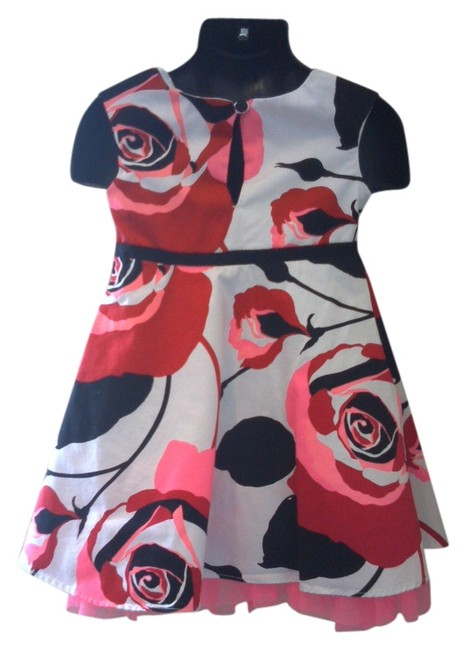 babyGap short dress red pink white and black floral Toddlers Size2 Summer Pretty Like New on Tradesy