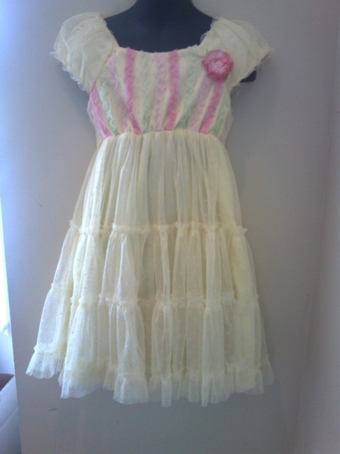 Jona Michelle short dress yellow with pink and lime green stripes Lace Ruffle Girls Flower Summer Size 5 on Tradesy