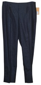 Ellen Tracy Slim Ankle Straight Pants Navy Blue Polka Dot