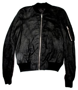 Rick Owens Bomber Leather Black Jacket