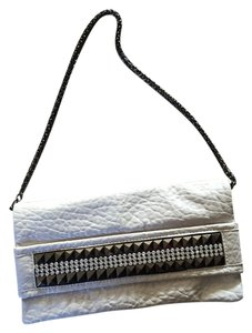 Express White Leather Studded Clutch