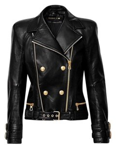 Balmain x H&M Leather Gold Hardware Military Jacket