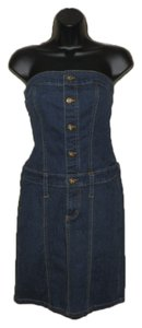Baby Phat short dress Blue jean Strapless Cotton Stretchy on Tradesy