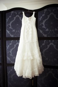 Melissa Sweet White/Ivory Organza Lace and Satin Sweetheart Trumpet Gown Style Ms251002 Formal Wedding Dress Size 8 (M)