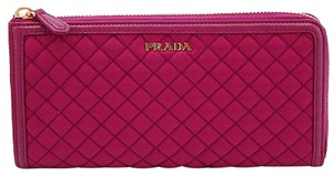 Prada 1m1183 Wallet Leather Nylon Pink Clutch