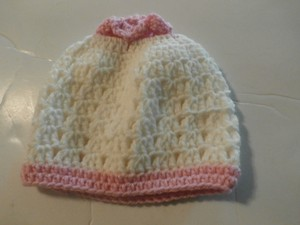 Other NEW Crochet Hat - Crochet Beanie - Crochet Hat WHITE PINK 15X7 INCHES