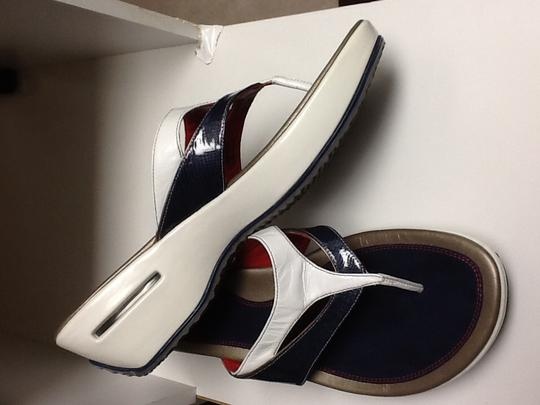 Cole Haan Flip Flops Platform Wedge Patriotic Blue and white with a little red Sandals