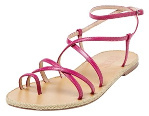 Best Society Leather Strappy Spring Summer Casual Magenta Sandals
