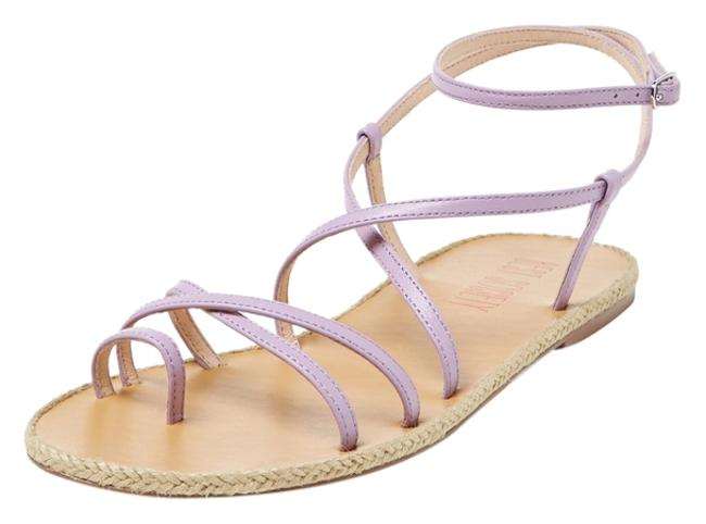 Item - Lavender Strappy Criss Cross Leather New Spring Sandals Size US 8 Regular (M, B)