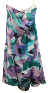 The Limited short dress Blue green purple white Watercolor Strapless on Tradesy