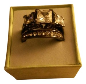 Other 6 Carat Grandiose CZ Ring Set. Black Ion Plated. Size 8
