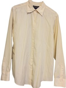 Brooks Brothers Button Down Shirt Pale yellow with blue stripes