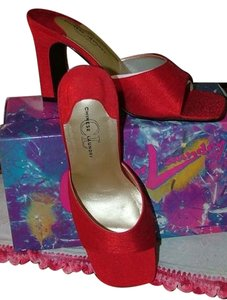 Chinese Laundry Silk Mule Asian Hot Rod Red Pumps